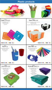 Branded Plastic Promotional Products - Plastic Bookmarks, Paper Cubes, Pencil Cup, flexi Ruler, Lunch Box,  Rectangle lunch box