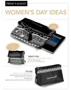 Womens Gifts - Tablet and Cosmetic Bag with Tribal print