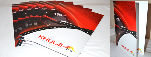 Printed folder with business card slits