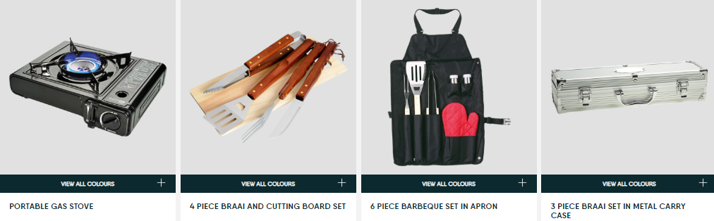 portable duel gas stove, braai utensils and cutting board set, braai set in apron, braai set in metal case