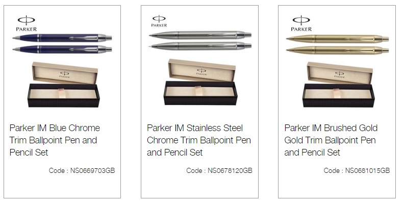Parker IM Blue Chrome Trim Ballpoint Pen and Pencil Set