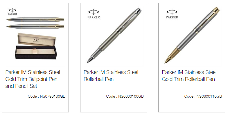 Parker IM Stainless Steel Gold Trim Ballpoint Pen and Pencil Set