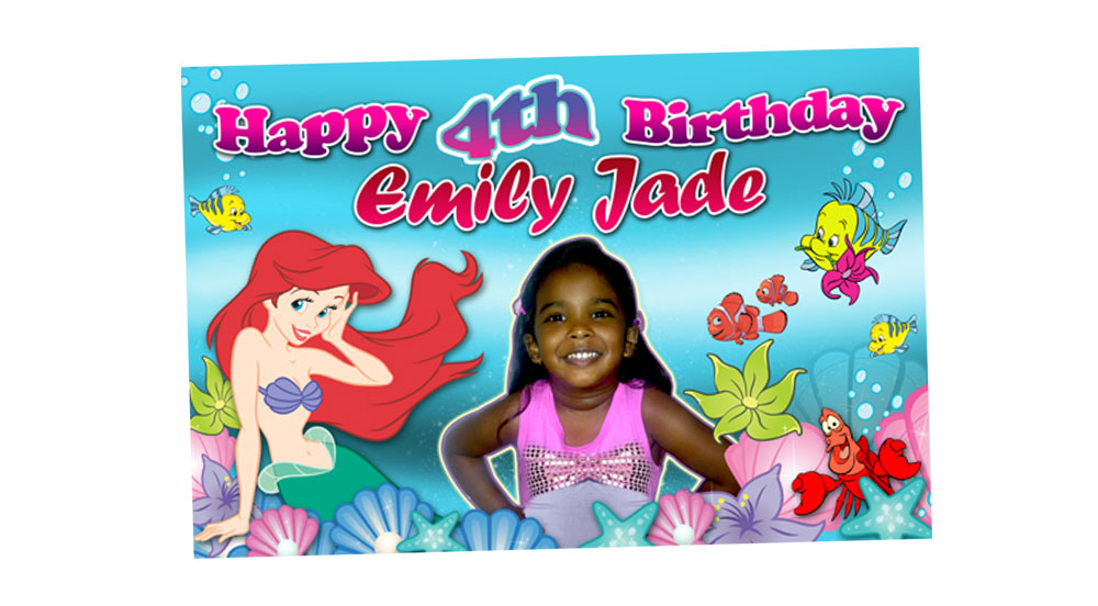Ariel Mermaid Themed Girl's Birthday Banner
