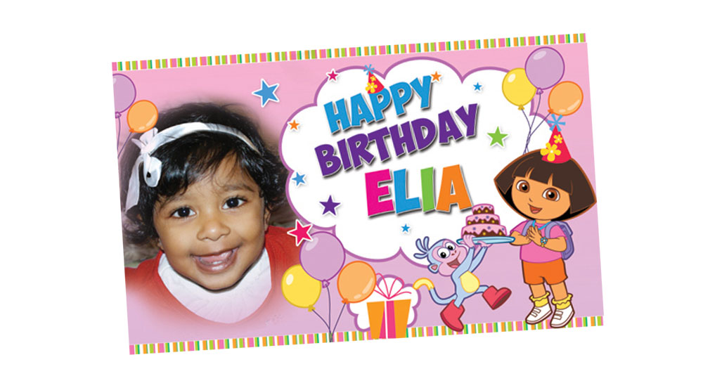 Personalised Dora Explorer Themed Girl's Birthday Banner
