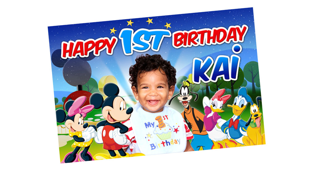 1st Birthday Party Mickey Mouse Club House Banner - Mickey Mouse Club House Banner