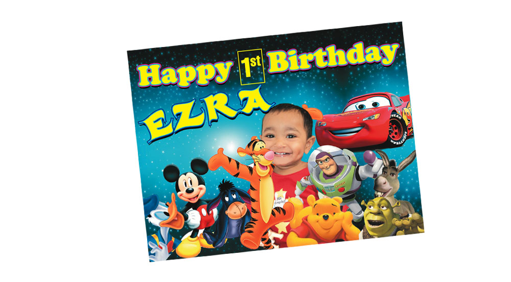 Disney Cars, Shrek, Pooh Themed Birthday Banner