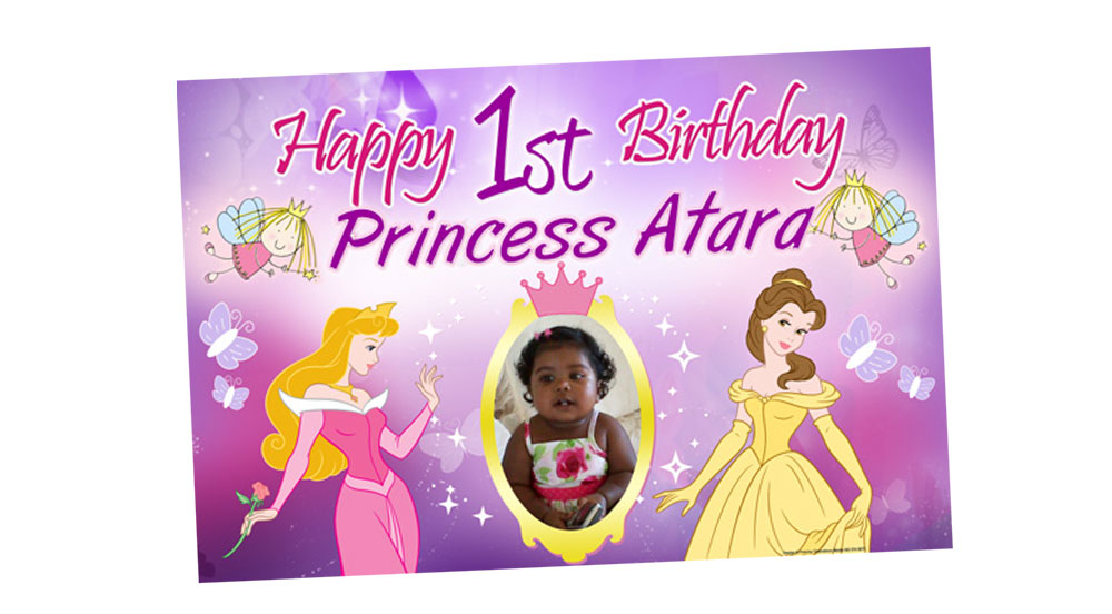 Disney Themed Birthday Banner Image Inspiration of Cake and