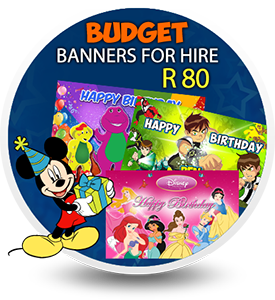 Birthday, Party Banners for hire at R80 in Durban