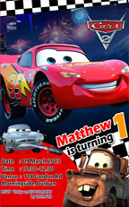 Disney Cars 2 invitation Design, durban. quick email and bbm invites