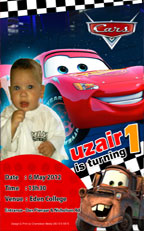 Lightning Mcqueen and Mater party invite, Durban. quick email and bbm invites