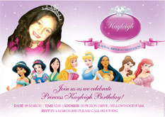 Disney pricess party invite, Durban