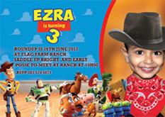 Toys Story party invite, Durban. quick email and bbm invites